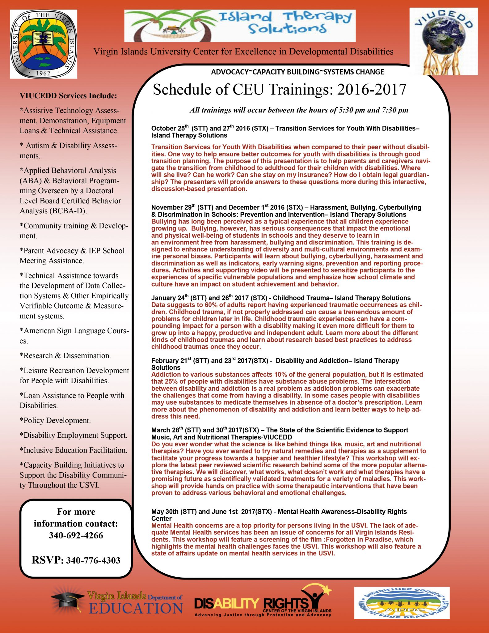 2016-2017 Training Calendar